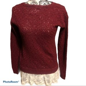 JUSTICE girls burgandy sweater . Size 16